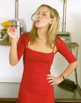 blond cigar smoking girl